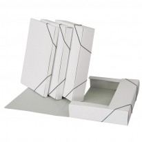 Папка - бокс с ластик и  3 вътрешни капака, 30x240x330мм, бяла