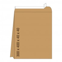 Кафяв плик с дъно, СЗЛ, E4, 300 х 400 х 40 х 40 мм