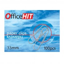 Кламери OfficeHIT, заоблени, 33 мм, 100 броя