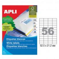 Етикети Apli, А4, бели, 52.5 х 21.2 мм, 56 бр./л., прави ъгли, 100 л./пак.