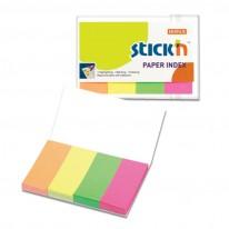 Индекси Stick`N, хартиени, 20 x 50 мм, неон, 4 x 50 л.
