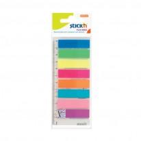 Индекси Stick`N, неон, 42x 12 мм, 8x 25 л.,цветни, с линийка