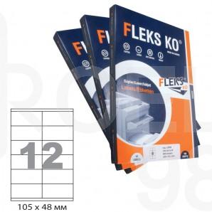 Етикети Flex Ko, А4, бели, 105 х 48 мм, 12 бр./л., прави ъгли, 100 л./пак.