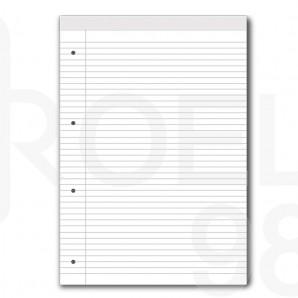 Блокнот, микро-перфорация, бял офсет, редове, А4, 50 л.