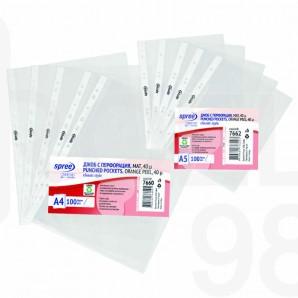 Папка джоб с европерфорация Spree, А5, 40µ, матиран, 100 броя