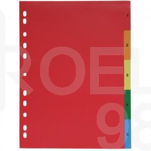 Разделител с европерфорация, цветен, PVC, 1-5