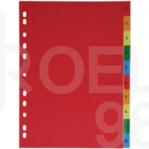 Разделител с европерфорация, цветен, PVC, 1-20