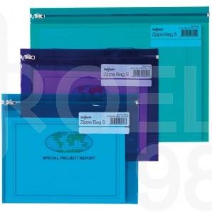 Папка с цветен цип, Snopake, A4, цветна, прозрачна