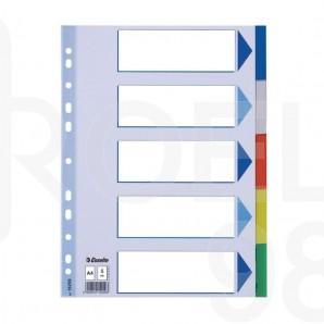 Разделител Esselte с европерфорация, PVC, 115μ, 5 цвята