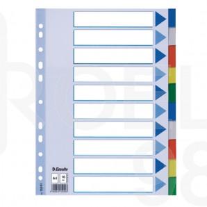 Разделител Esselte с европерфорация, PVC, 115μ, 10 цвята