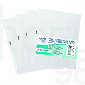 Папка джоб с европерфорация Spree, А4, 30 µ, кристал, 100 бр./оп