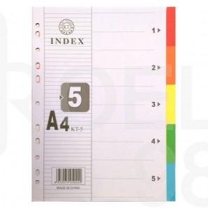 Разделител картон с европерфорация, 5 цвята