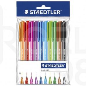 Комплект химикалки Staedtler 432, 10 цвята