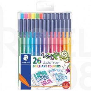Флумастри Staedtler 323, триъгълни, 26 цвята, опаковка за окачване, серия Adult Coloring