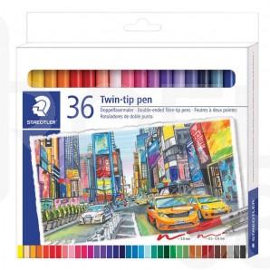 Двувърхи флумастри Staedtler, 36 цвята