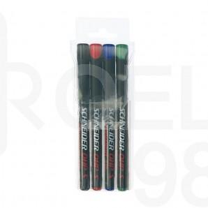 Комплект Schneider перманентни маркери OHP 224М, 4 цв.