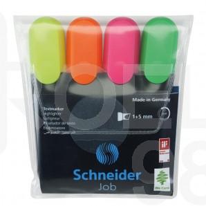 Комплект текстмаркери Schneider Job, 4 цвята