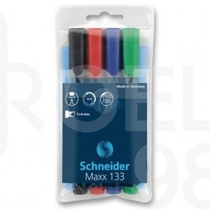 Комплект Schneider перманентни маркери 133, скосен връх, 4 цв.