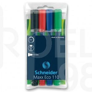 Комплект маркери за бяла дъска и флипчарт Schneider Maxx Eco 110, 4 цвята