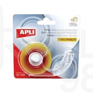 Диспенсър с прозрачна лепяща лента APLI, 19мм х 33м