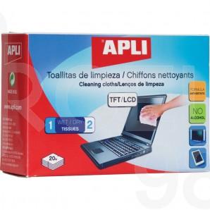 Почистващ комплект Apli, влажна и суха кърпа, за TFT/LCD екрани, 20 комплекта в кутия