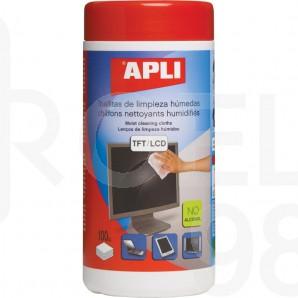 Почистващи влажни кърпи Apli за плазмени екрани, в PVC кутия, TFT/LCD