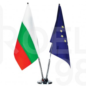 Поставка за знамена - месингова, двойна за  бюро