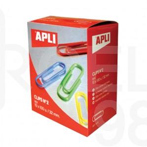 Кламери Apli, заоблени, 32 мм, 100 броя, цветни, асорти