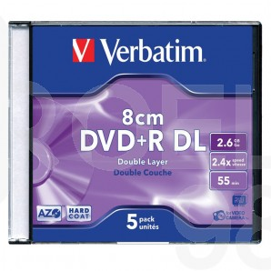DVD+R мини диск Verbatim Dual Layer, 2.6GB, 2.4x, кутия 1бр.