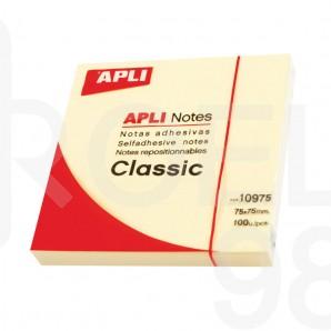 Самозалепващи листчета APLI, 75 x 75 мм, жълти