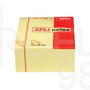 Самозалепващи листчета Apli, 75 x 75 мм, 400 л., жълти