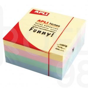 Самозалепващи листчета Apli, 75 x 75 мм, 400 л., пастел, 4 цвята