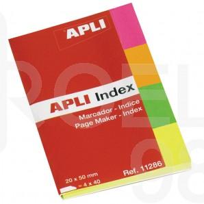 Индекси Apli, неон, 20 x 50 мм, 4 x 40 л. с корица