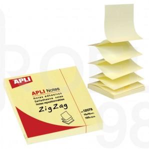 Z-Листчета Apli Zig Zag, 75 x 75 мм, жълти, 100 л.