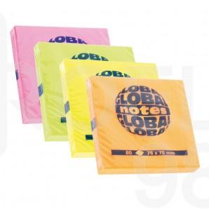 Самозалепващи листчета Global Notes, неон, 75 x 75 мм