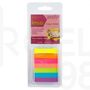 Индекси Stick'N, неон, 50 х 10 мм, 7 х 40л., цветни