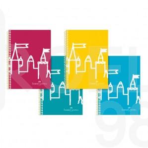 Тетрaдka Faber-Castell РР Замък, А4, квадрати, широки редове, 80 листа