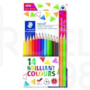 Цветни моливи Ergosoft 157, 12 цвята + 2 неонови безплатно, картонена кутия