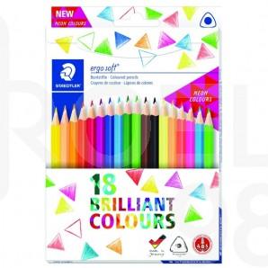 Цветни моливи Ergosoft 157, 18 цвята (12 стандартни + 6 неонови), картонена кутия