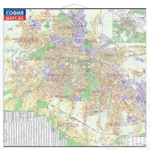 Административна карта на София, ламинирана, 1 : 8 000