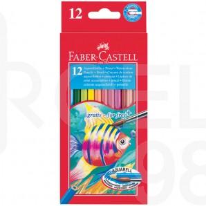 Акварелни моливи Faber-Castell, с четка, 12 цвята