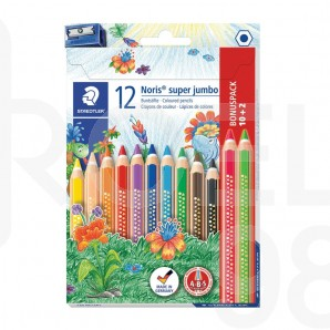 Цветни моливи Staedtler Noris Club 129 Super Jumbo, 12 цвята