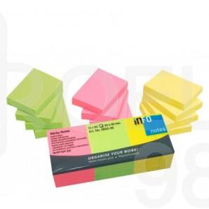Самозалепващи листчета Info Notes, неон, 50 х 40 мм, цветни