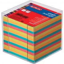 Кубче Herlitz, нелепено, цветно, 650 л., в прозрачна пластмасова поставка
