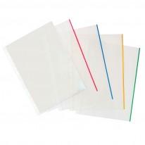 Папка джоб с европерфорация, A4, матиран, с цветен ръб