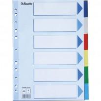 Разделител Esselte с европерфорация, PVC, 115μ, 6 цвята
