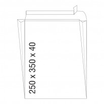 Плик, СЗЛ, B4, 250 х 350 x 40 мм, с разширение, къса страна, бял
