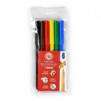 Комплект флумастери Koh-i-Noor, 6 цвята