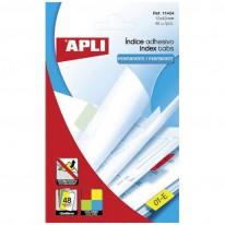 Индекси за картотека APLI, PVC, 12x25мм, 4 пастелни цвята, 80бр.