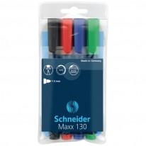 Комплект Schneider перманентни маркери 130, объл връх, 4 цв.
